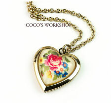 QUALITY GOLD LOVE FLORA HEART PENDANT LOCKET NECKLACE WOMENS JEWELLERY XMAS GIFT