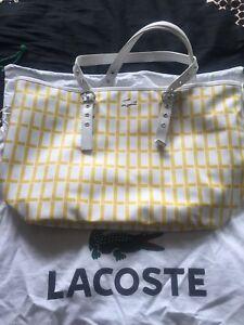 8e7db5bf7d Bnwt Lacoste Shopper Tote Hand Bag Rrp €165 Dust Bag White & Yellow ...
