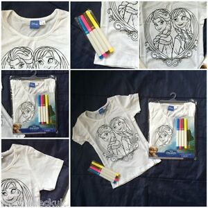 Frozen-Girls-Colour-Your-Own-Cotton-T-Shirt-Anna-Elsa-Color-Tee-Shirt-Kids-White