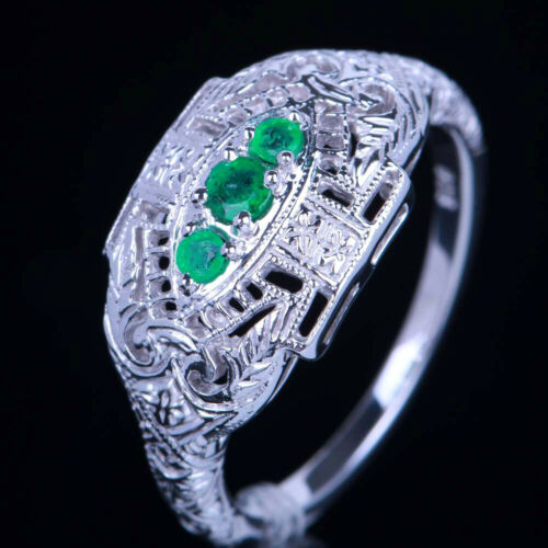 Vintage Style Sterling Silver Milgrain Three-Stone Round Emeralds Wedding Ring