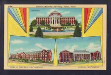 DALLAS TEXAS TX Souther Mehthodist University 3 Views LInen Old Vintage Postcard