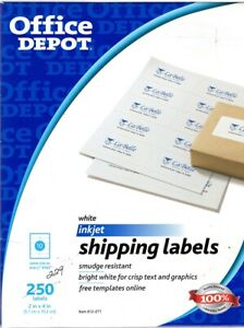 Details About Office Depot 2 X4 White Inkjet Shipping Labels 229 Total