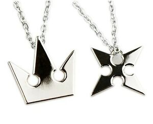 Set-of-2-Kingdom-Hearts-Sora-Crown-Roxas-Cross-Metal-Necklace-Keyblade-Pandent