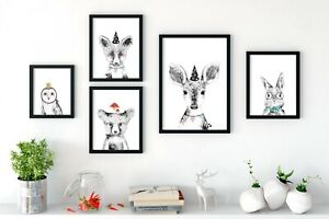 Woodland-Party-Animal-Nursery-Prints-Wall-Art-coucou-bebe-animaux-mignon