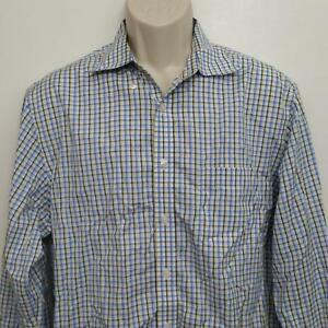 Charles-Tyrwhitt-Mens-Non-Iron-Slim-Fit-Shirt-Large-Blue-Yellow-Plaid-L-S