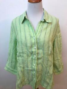 COLDWATER-CREEK-green-striped-100-Linen-long-sleeve-blouse-Women-039-s-M