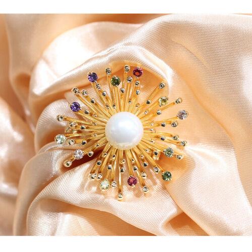 Broche Pin Doré Art Nouveau Coeur de Fleur Pavé CZ Violet Vert Perle Nacré XZ9