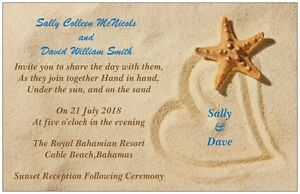 30-50-80-100-Starfish-Names-in-Heart-on-Beach-5x7-WEDDING-Invitation-Custom