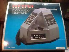 Vintage Sci Fi the ELECTRA Clock Radio Telephone Com Vu # 4001 Triangular 1983