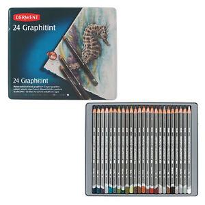 24-Derwent-GRAPHITINT-farbige-Graphitstifte-wasservermalbare-Aquarellstifte