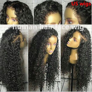 USA-Glueless-100-Pre-Plucked-Human-Hair-Curly-Full-Lace-Wigs-Lace-Front-Wigs