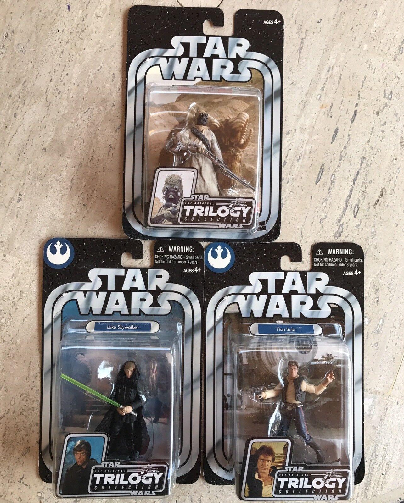 Star Wars OTC Lot Of 3 Figures- Jedi Luke, Han Solo & Tusken Raider Carded Look