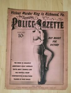 1943 National Police Gazette Magazine Vtg Crime News Murder Mystery Loose Cover