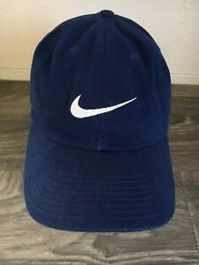 a9811610972 Nike Hat 90s Vintage Adjustable Big Logo Blue Dad Cap Strap back ...