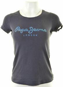 PEPE-Jeans-Damen-Graphic-T-Shirt-Top-Groesse-10-Small-blau-Baumwolle-jj15