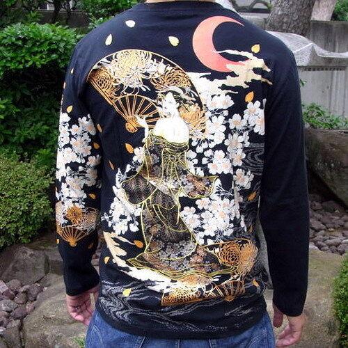 Mens Embroidery Japanese Pattern T-Shirt Long Sleeve Sukajan Ukiyo-e Courtesan