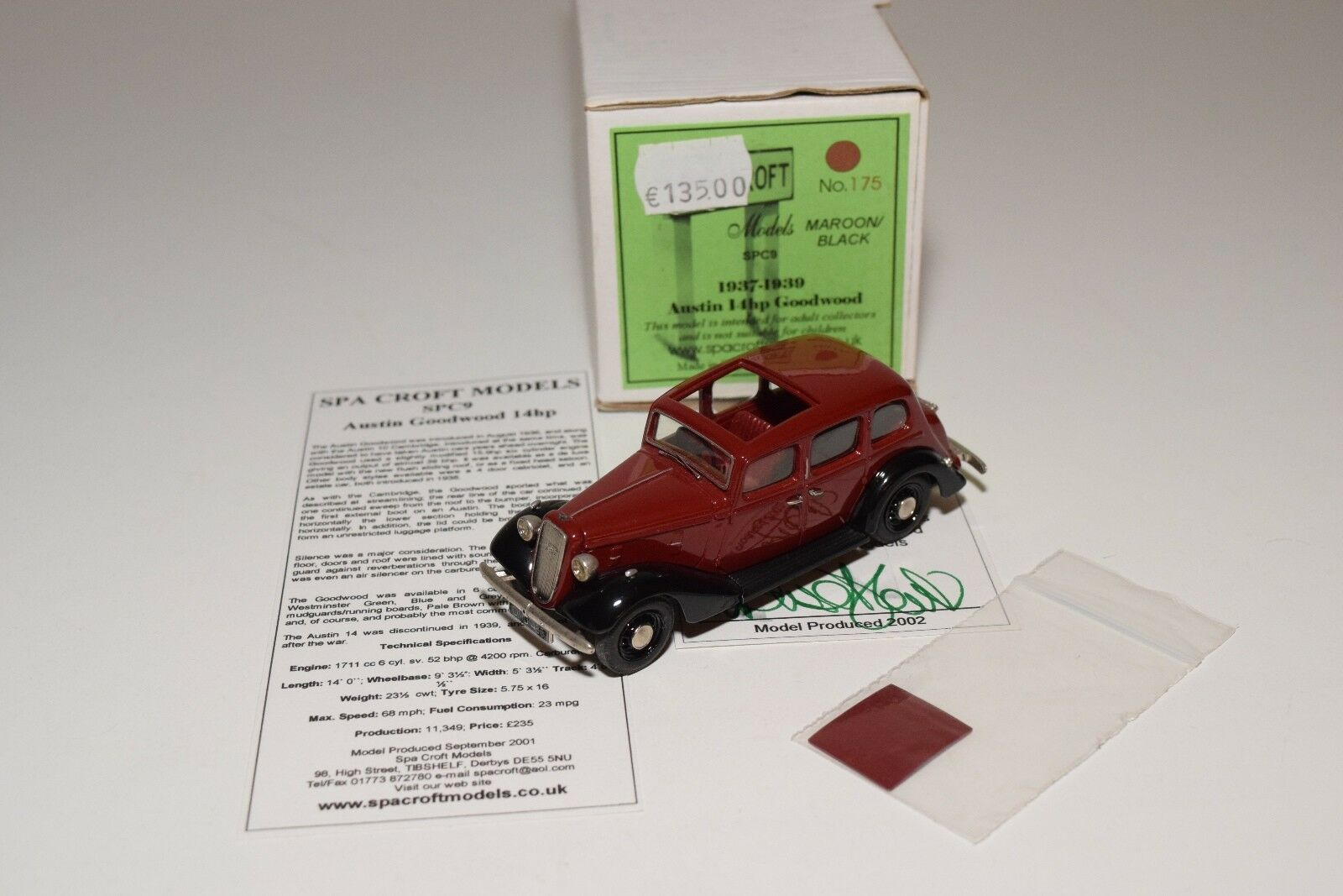 SPA CROFT MODELS SPC9 AUSTIN 14HP GOODWOOD 1937-1939 MAROON Negro MINT BOXED