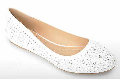 White Diamante Wedding Flat Pumps Bridal Ballerina UK 3 4 5 6 7 7.5