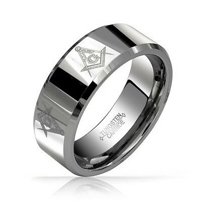 Free Mason Ring - Freemasonry Style Tungsten Silver Color Masonic Rings for Men