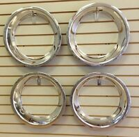 15 2.5 Chevy Bowtie Chrome Stainless Steel Trim Ring Set 15x7 Rally Wheels
