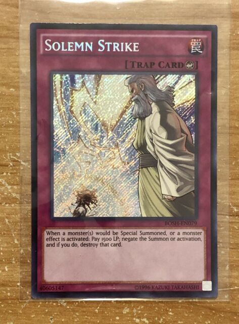 NM Yu-Gi-Oh Secret Rare Solemn Strike 1st Edition BOSH-EN079