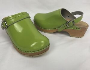 b5772459965 Details about Swedish CAPE CLOGS Womens Lime Green PATENT Made in Sweden  SHOES Heel Strap 36