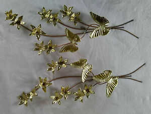 Vintage Metal 3D Butterfly & Flower Wall Decor Hanging Brass & Copper Tone
