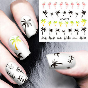 2-Sheets-Coconut-Tree-Nail-Art-Water-Decals-flamingo-design-Transfer-Sticker