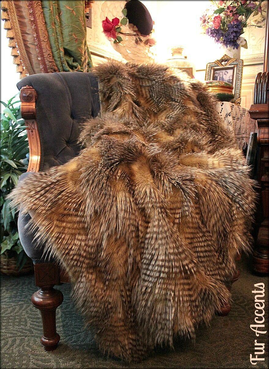 Marronee Pheasant Feather Throw Blanket Luxury Faux Fur Minky Cuddle Fur Lined