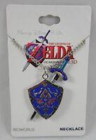Nintendo The Legend Of Zelda Ocarina Time 3d Sword And Shield Pendant Necklace