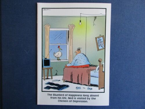 """The FAR SIDE 1988 Vintage Card /""""The Chicken of Depression/"""" Blank Inside"""