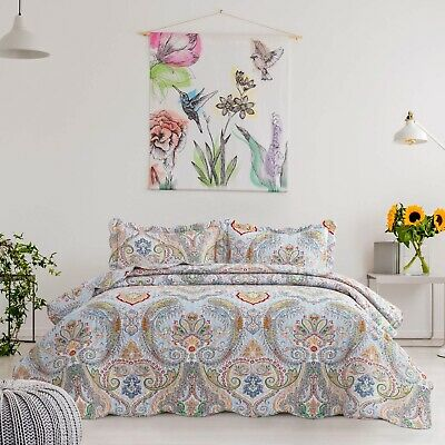 3 Pieces Quilt Reversible Coverlet Bedspread Floral Set Soft Twin Queen King
