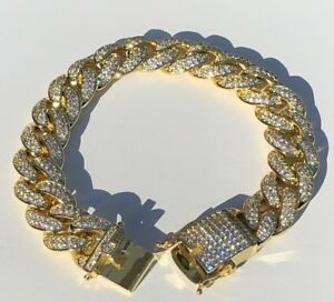 Mens-ICY-Cuban-Miami-Link-8-5-034-Bracelet-14k-Gold-Plated-15mm-15ct-Lab-Diamonds