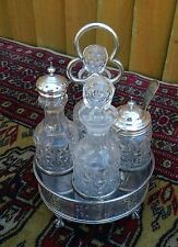 ANTIQUE VICTORIAN SILVER PLATE 4 PIECE GLASS BOTTLE CRUET CONDIMENT SET & STAND