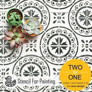 Muebles-de-mosaico-Stencil-Morello-Mediterraneo-Pared-stencil-Piso-Para-Pintar