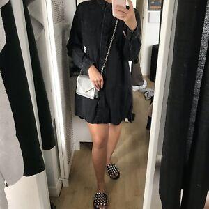 zara black denim dress