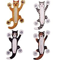 Cat Window Thermometer Suction Cup Mount Hand Carved Eco-friendly Albesia Wood