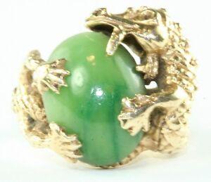 Vintage 14k Gold Dragon Jade Ring Size 6 Ebay