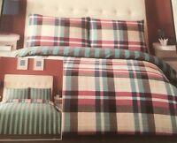 Tartan Check Striped Teal Burgundy Grey Single Bed Reversible Duvet Cover Set