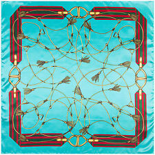 "Women's Fashion Silk-Satin Square Scarf Blue Chain Printed Shawl Hijab 35""x35"""