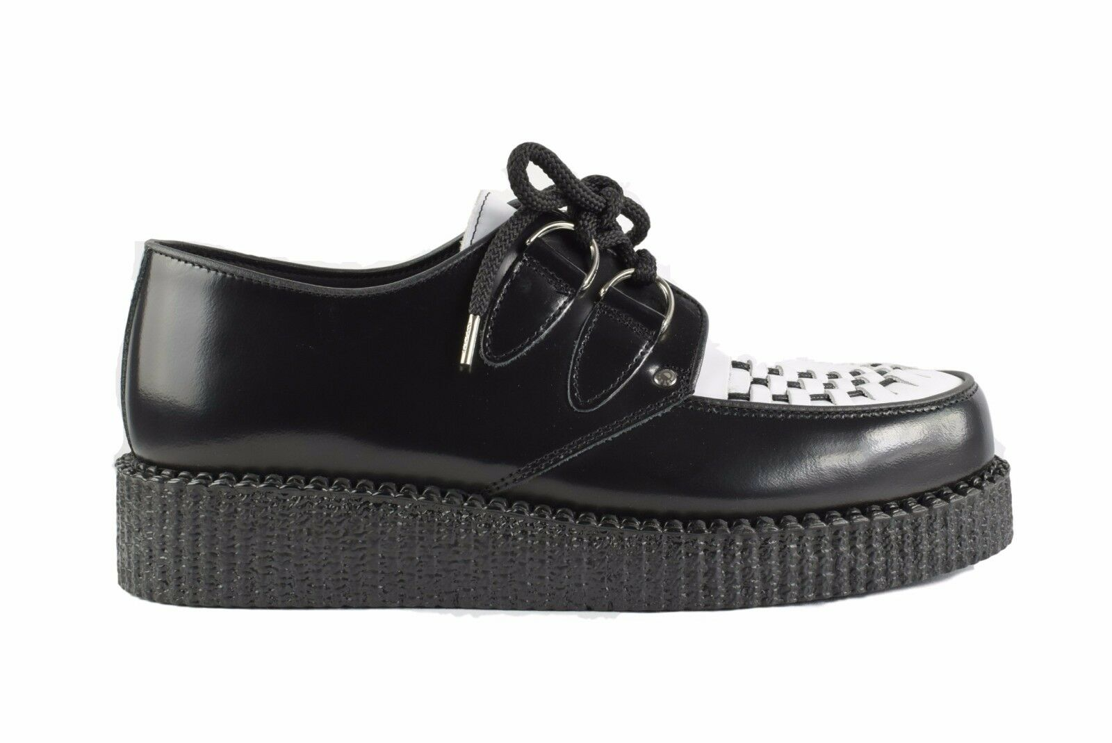 Steel Ground Schuhes schwarz WEISS Leder Creepers Low Sole D Ring Casual