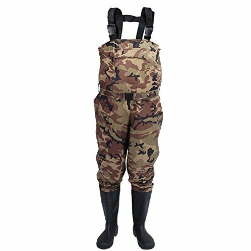 Camo Breathable Fly Fishing Waders Crosswater Chest Waders Cleated Sole Duarable