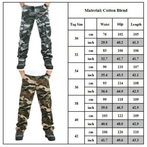 Mens Cargo Trousers Army Tactical Combat Camo Work Pockets Camping Pants Outdoor