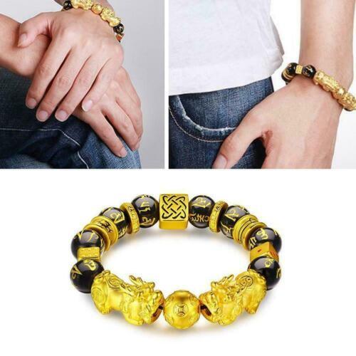 Feng Shui Black Obsidian Wealth Bracelet Quality Good Jewellery Luck Wristb K9K6