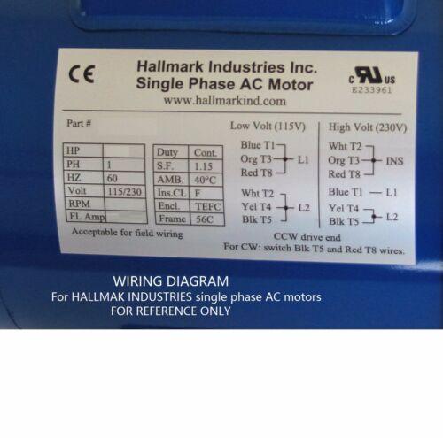 1HP 1PH With base 115V//208-230V 1725RPM 56C//TEFC AC MOTOR