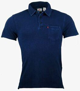 Jeans-para-hombre-Levis-Levi-Rey-Mangas-Cortas-Camiseta-Gimnasio-Informal-Polo-Golf-Azul-Superior