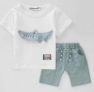 d96502236916 2PCS Kids Baby Boys crocodile Short Sleeve T-Shirt Tops + shorts ...