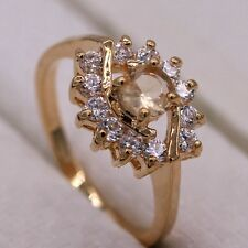 Rare Champagne Crystal 18K Gold Plated Ring Fashion Women Lady Jewelry Size 7