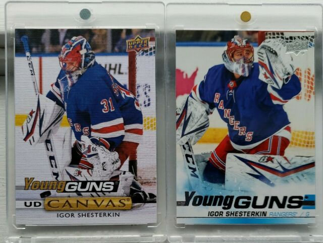 2019-20 UD Igor Shesterkin Young Guns + Young guns Canvas RC ROOKIE SP AUTHENTIC