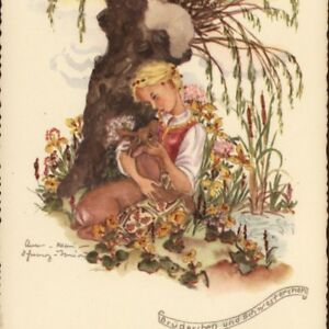 """""""BROTHER & SISTER"""" CHILDREN FAIRY TALE,ANNA MARIE TORINUS,GERMANY,OLD POSTCARD"""